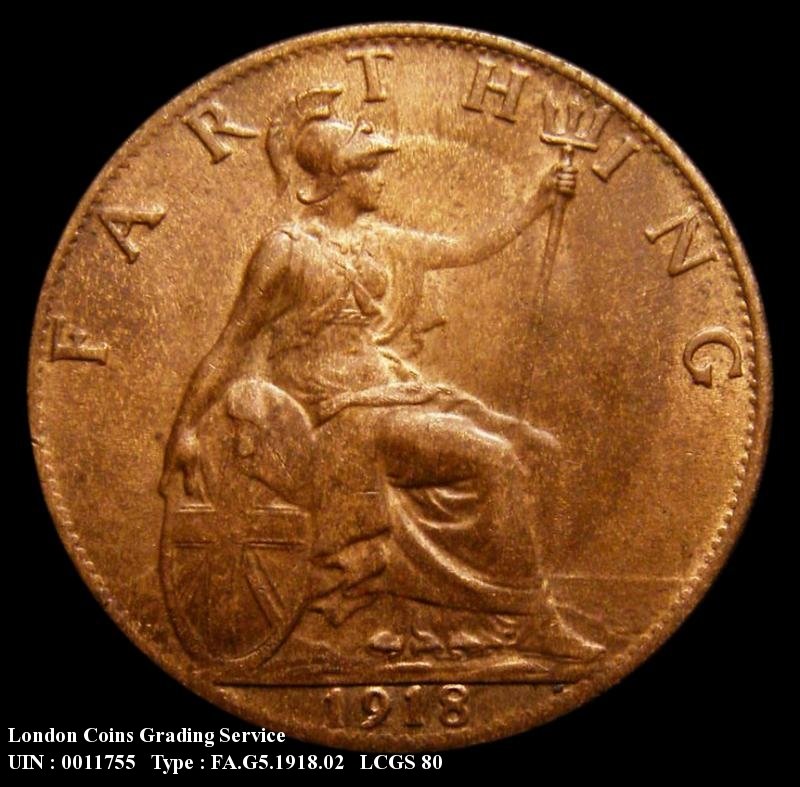 Farthing 1918 George V. Dies 2+A. Bright Finish - Reverse