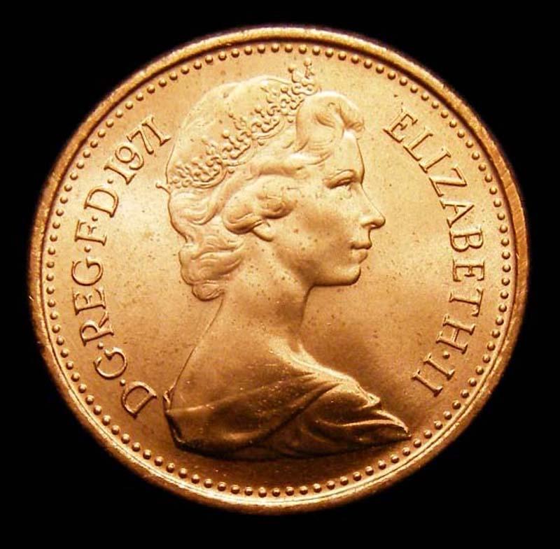 Decimal 1/2p 1971 Elizabeth II. Dies 1+A - Obverse