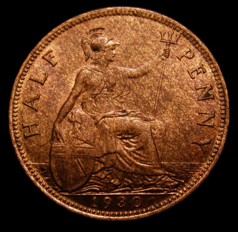 Halfpenny 1930 George V. dies 3+B - Reverse