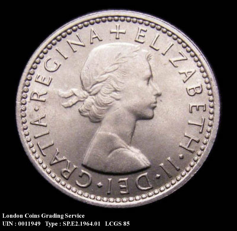 Sixpence 1964 Elizabeth II. Dies 1B: Obverse Second A of GRATIA points to a space. - Obverse