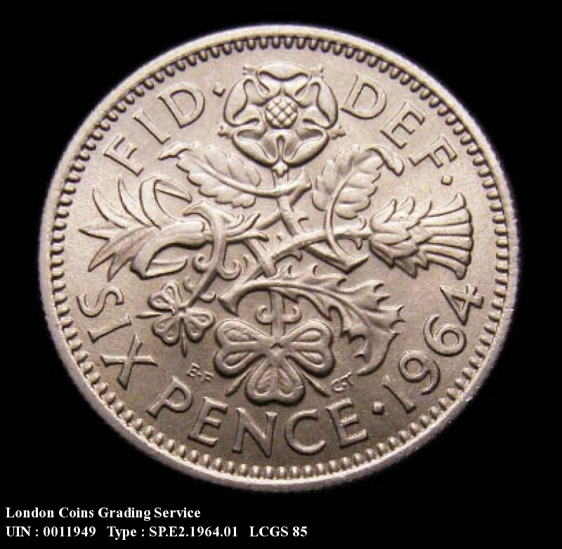 Sixpence 1964 Elizabeth II. Dies 1B: Obverse Second A of GRATIA points to a space. - Reverse