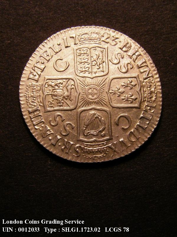 Shilling 1723 George I. SSC. First Bust - Reverse
