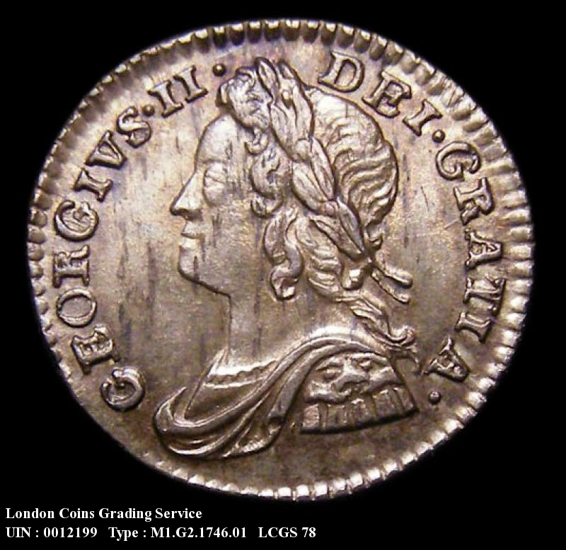 Maundy 1d 1746 George II. Standard type - Obverse