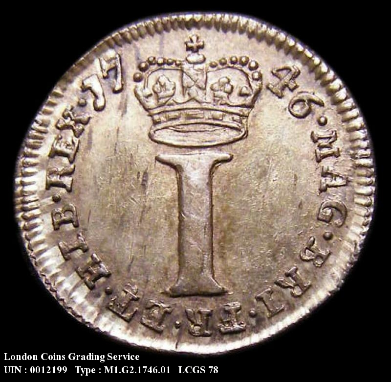 Maundy 1d 1746 George II. Standard type - Reverse
