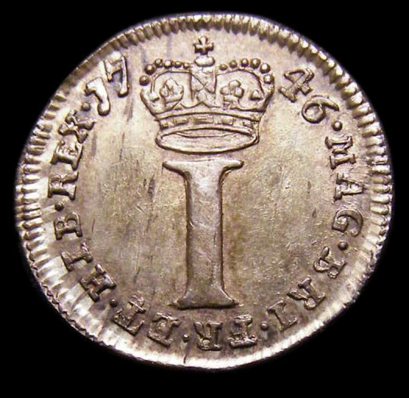 Maundy 1d 1746 George II. Standard type - Reverse