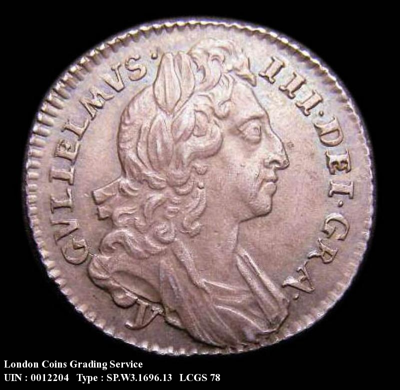 Sixpence 1696 William III. First Bust Early Harp Large Crowns y below bust - Obverse