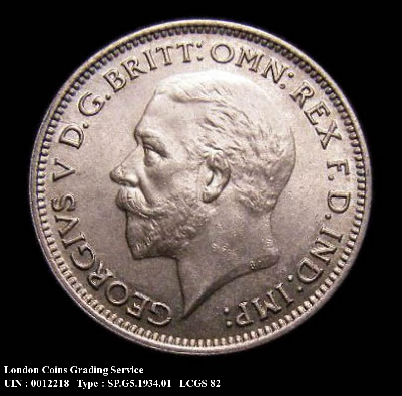 Sixpence 1934 George V. Standard type - Obverse