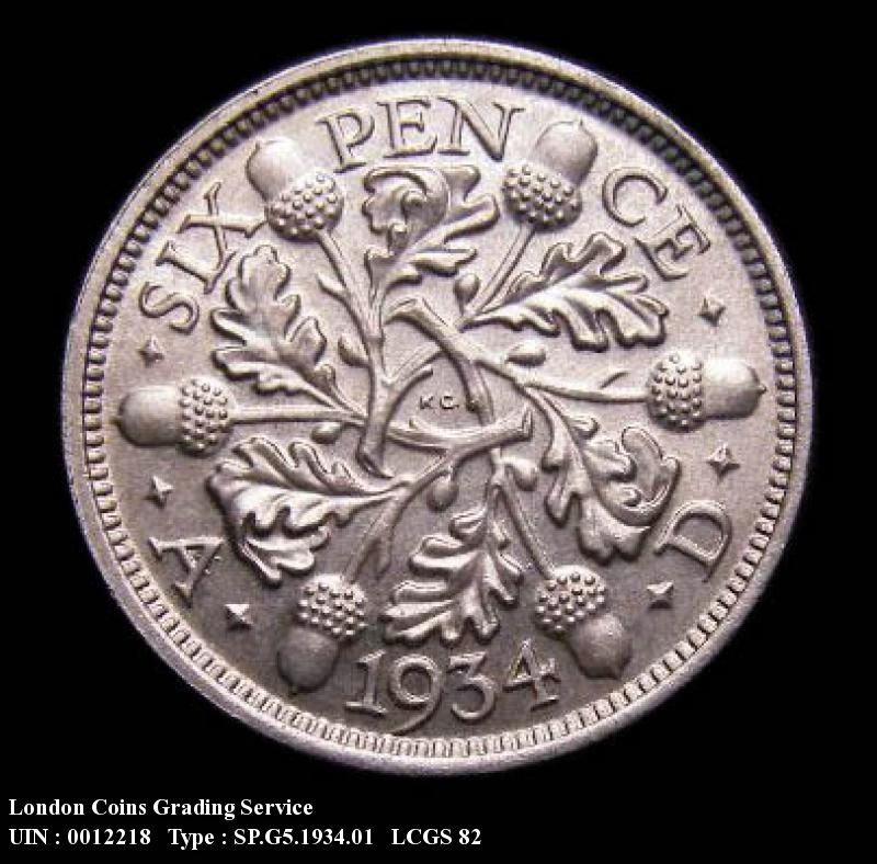 Sixpence 1934 George V. Standard type - Reverse