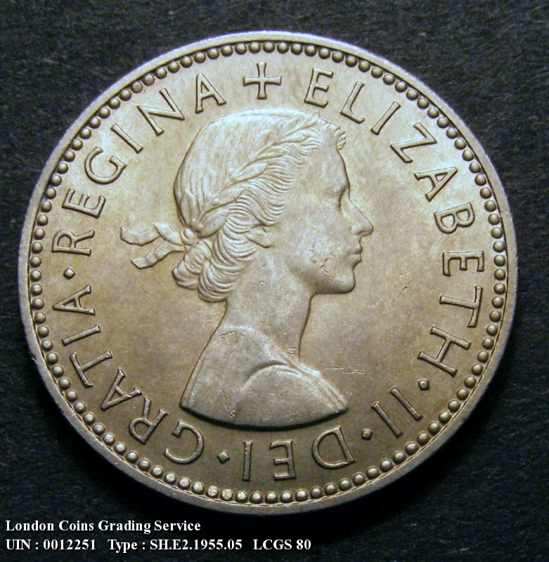 Shilling 1955 Elizabeth II. Scottish. Dies 1C. Reverse: D of DEF points to a space  F of FID points left of a border bead - Obverse