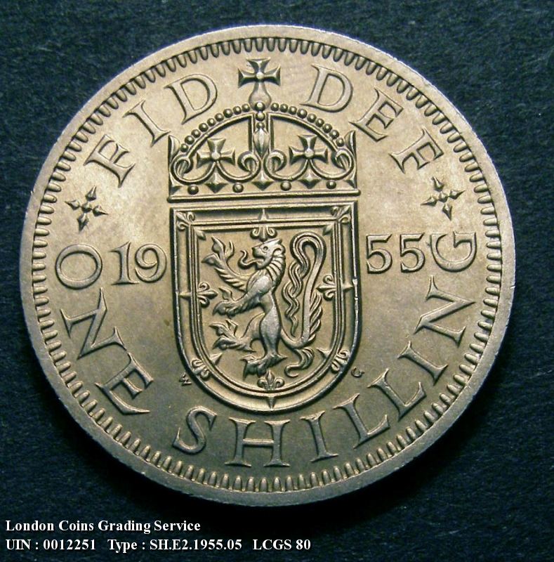 Shilling 1955 Elizabeth II. Scottish. Dies 1C. Reverse: D of DEF points to a space  F of FID points left of a border bead - Reverse