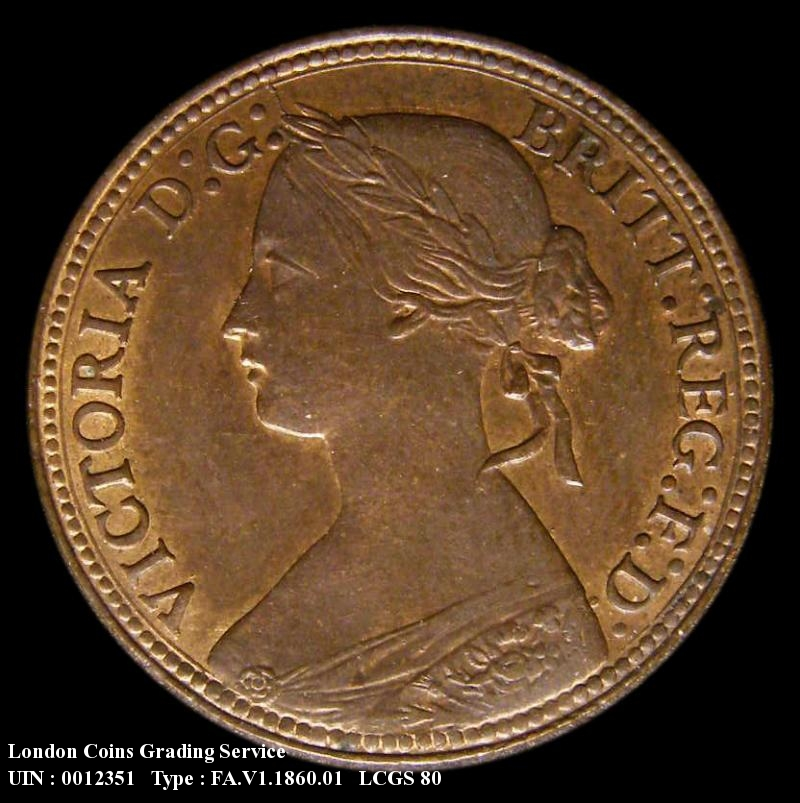 Farthing 1860 Victoria. Beaded Border 1+A - Obverse