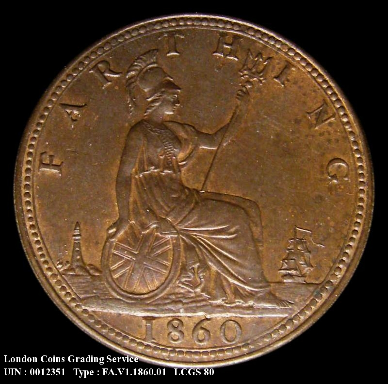 Farthing 1860 Victoria. Beaded Border 1+A - Reverse