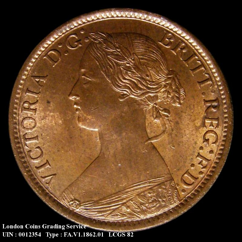 Farthing 1862 Victoria. Small 8 in date - Obverse