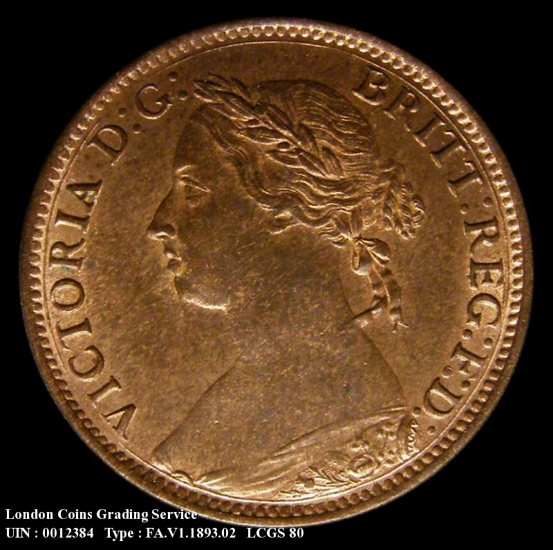 Farthing 1893 Victoria. Normal (wide) date - Obverse