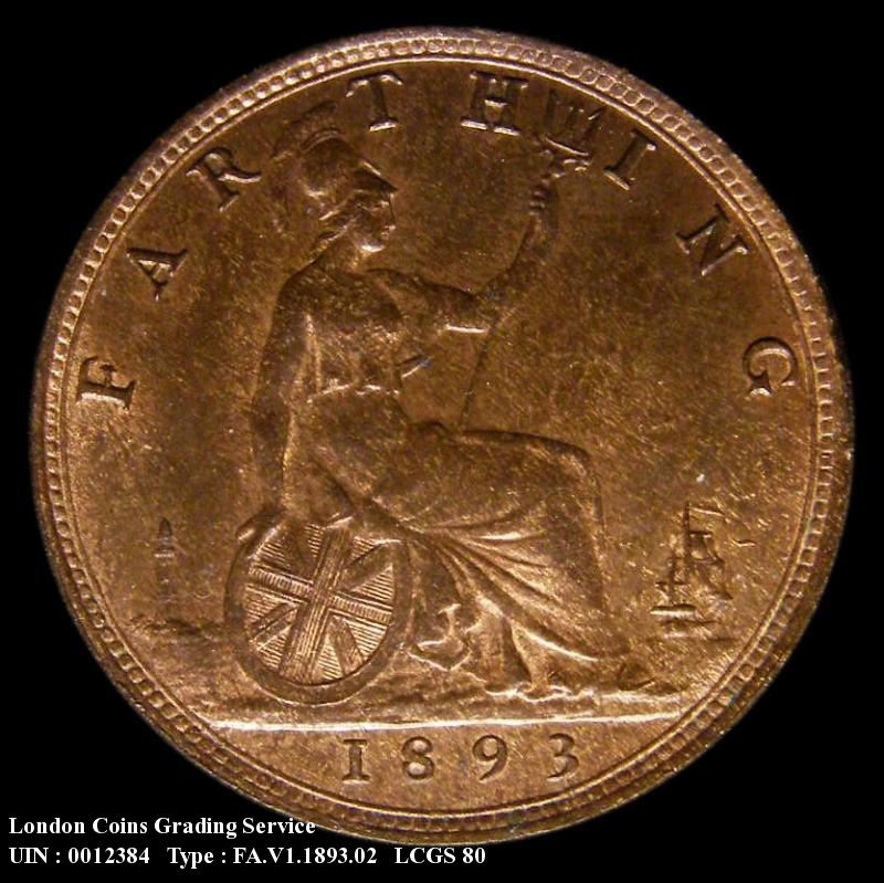 Farthing 1893 Victoria. Normal (wide) date - Reverse