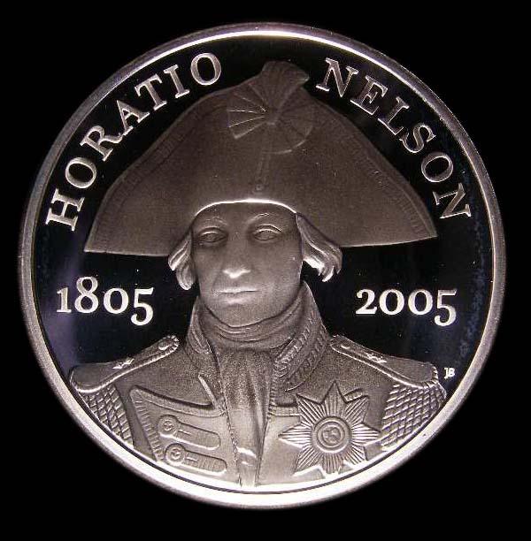 Five pound Crown 2005 Elizabeth II. Nelson. Silver Proof with plain edge (No edge inscription in error) - Reverse