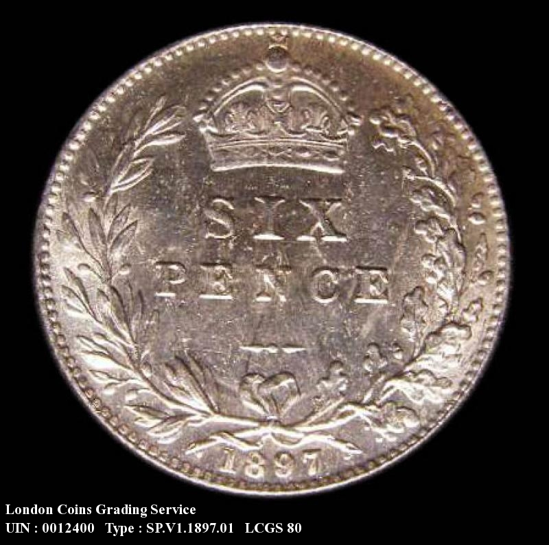 Sixpence 1897 Victoria. Standard type - Reverse