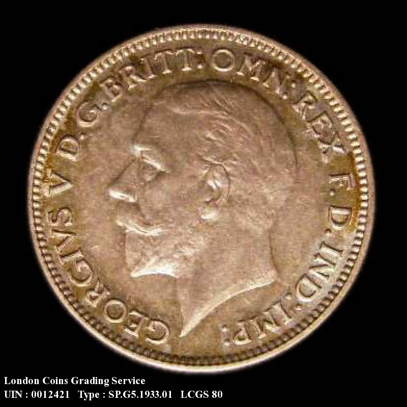 Sixpence 1933 George V. Standard type - Obverse