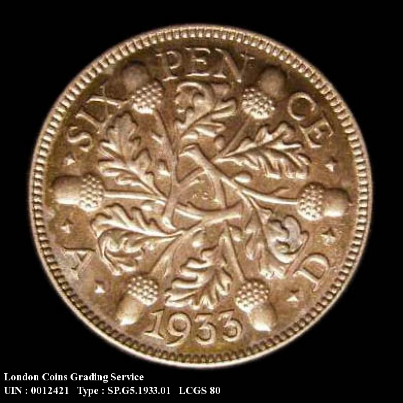 Sixpence 1933 George V. Standard type - Reverse