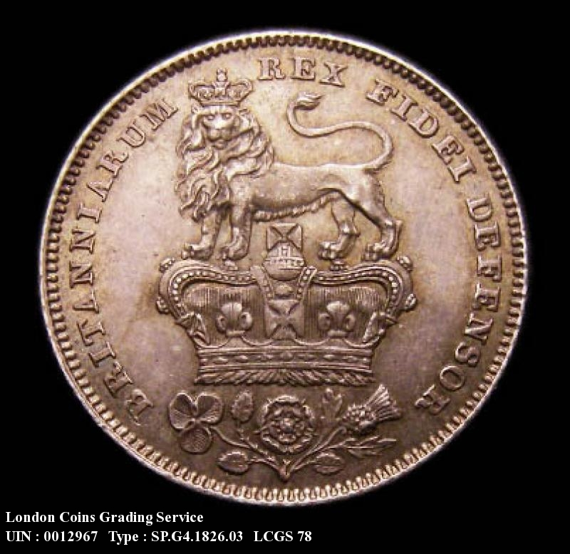 Sixpence 1826 George IV. Lion on Crown Reverse - Reverse