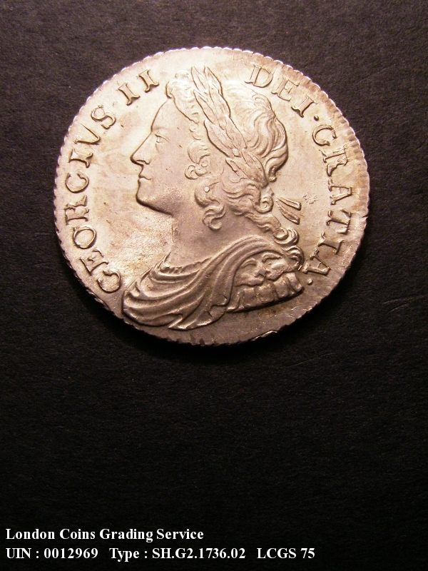 Shilling 1736 George II. 6 over 5 - Obverse
