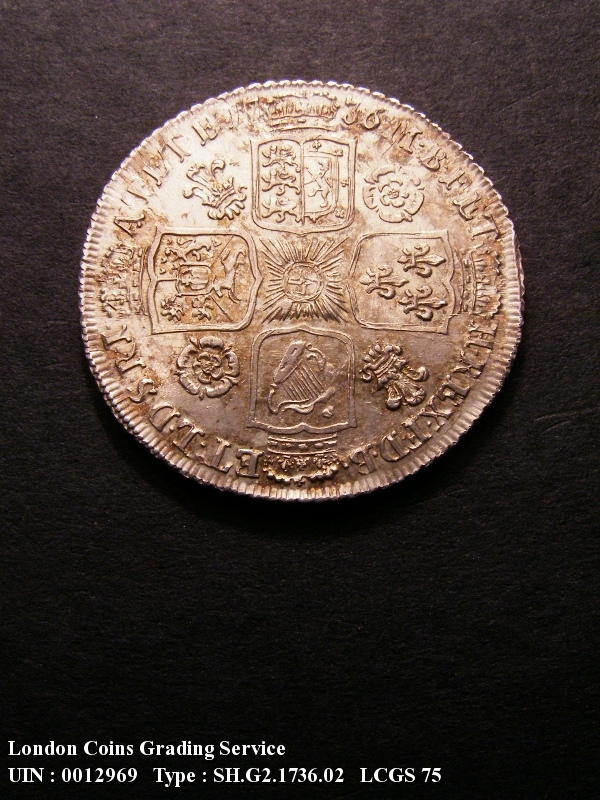 Shilling 1736 George II. 6 over 5 - Reverse