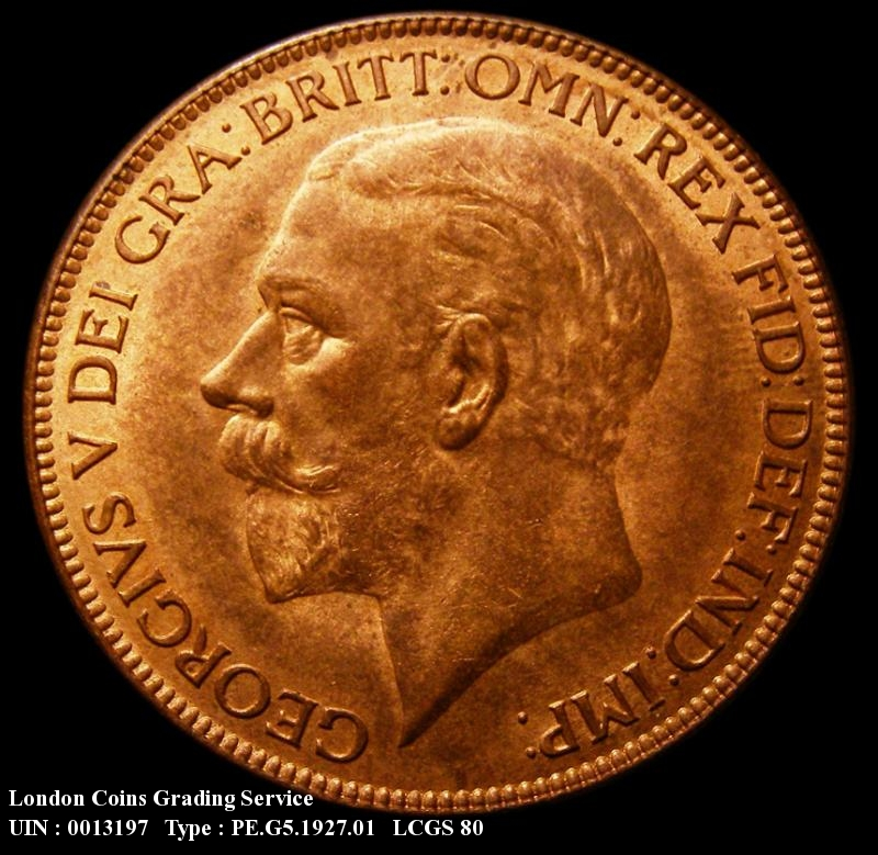 Penny 1927 George V. Dies 4+C. Modified Effigy - Obverse