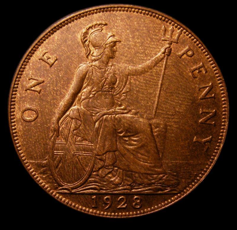 Penny 1928 George V. Dies 5+C - Reverse