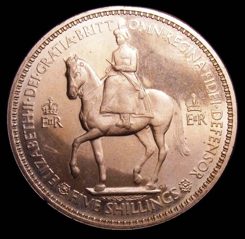 Crown 1953 Elizabeth II. Proof. Dies 1A - Obverse