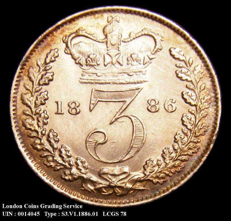 Silver 3d 1886 Victoria. Standard type - Reverse