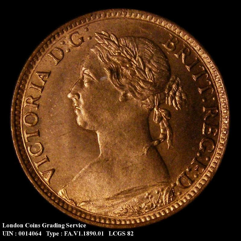 Farthing 1890 Victoria. 7+F Wide date (normal) - Obverse