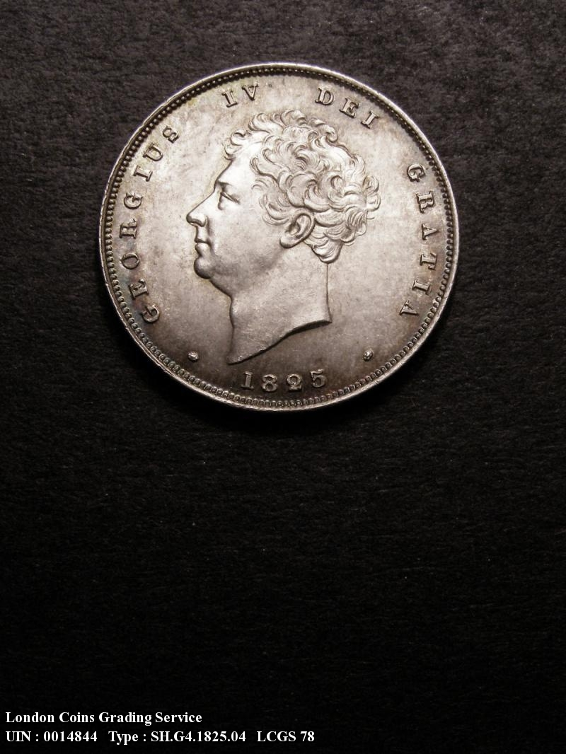 Shilling 1825 George IV. Bare Head Lion on Crown - Obverse