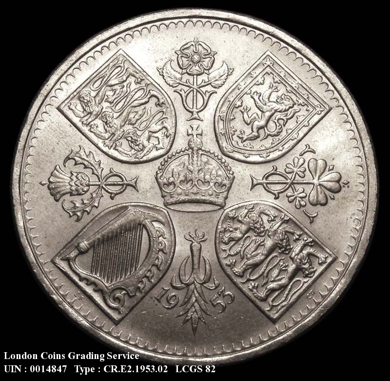 Crown 1953 Elizabeth II. dies 2A I of GRATIA to space - Reverse