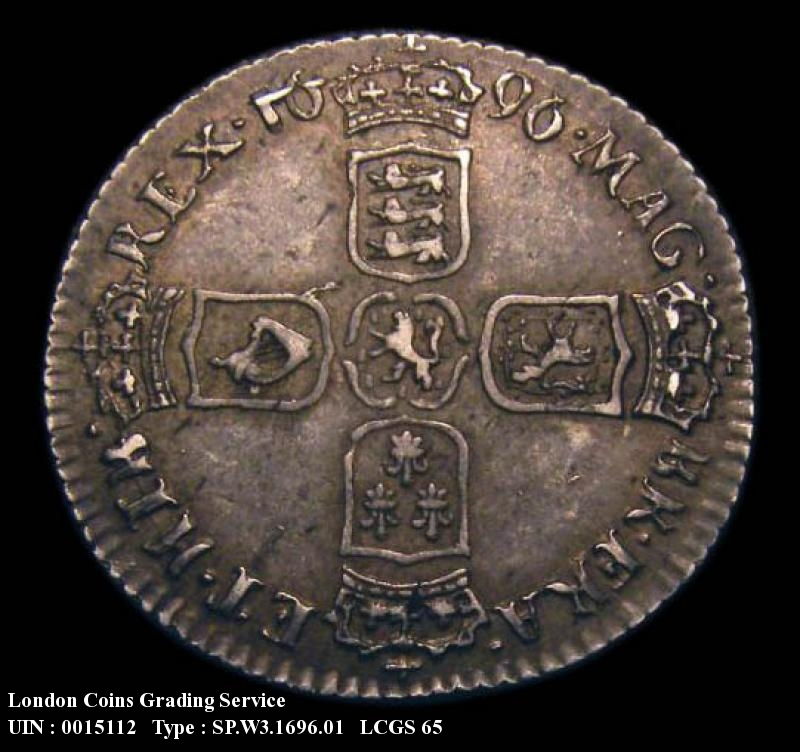 Sixpence 1696 William III. First Bust Early Harp Large Crowns - Reverse