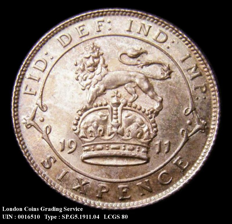 Sixpence 1911 George V. Dies 2B. I of BRITT to Bead  Colon of FID to space. - Reverse