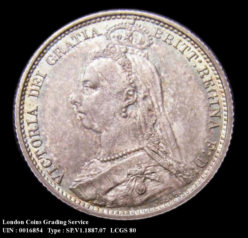 Sixpence 1887 Victoria. Withdrawn type JEB below truncation R of VICTORIA over I Jubilee Head - Obverse