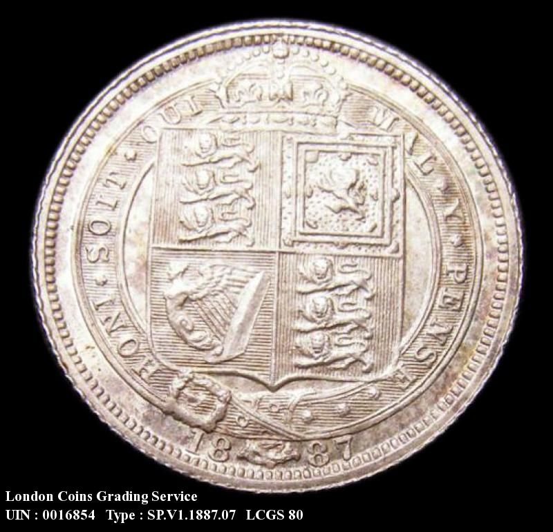 Sixpence 1887 Victoria. Withdrawn type JEB below truncation R of VICTORIA over I Jubilee Head - Reverse