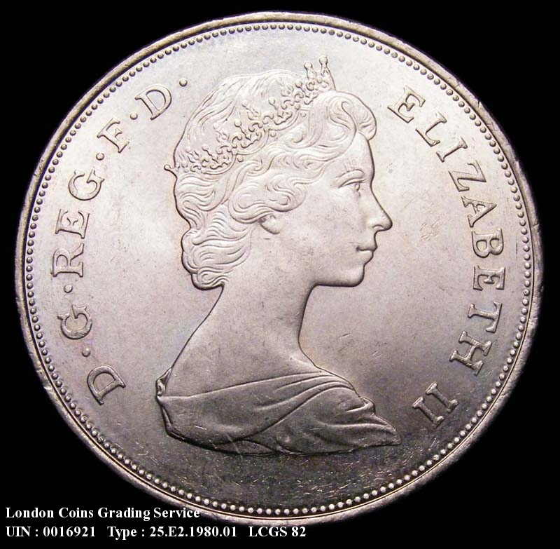 Decimal 25p 1980 Elizabeth II. Queen Mother 80th birthday. Currency - Obverse
