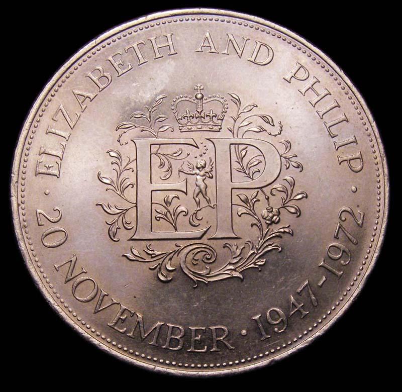 Decimal 25p 1972 Elizabeth II. Queen Elizabeth II and Prince Philip Silver Wedding. Currency issue - Reverse