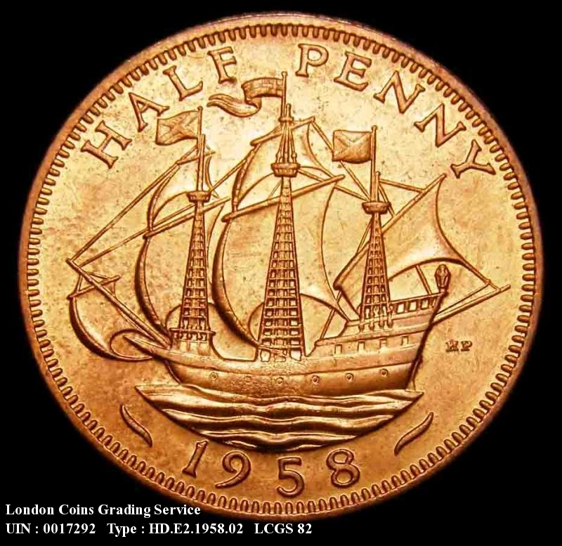 Halfpenny 1958 Elizabeth II. Dies 3+F. Ship 21.2 mm in width. Border teeth are slightly wider than the width of the rim. - Reverse