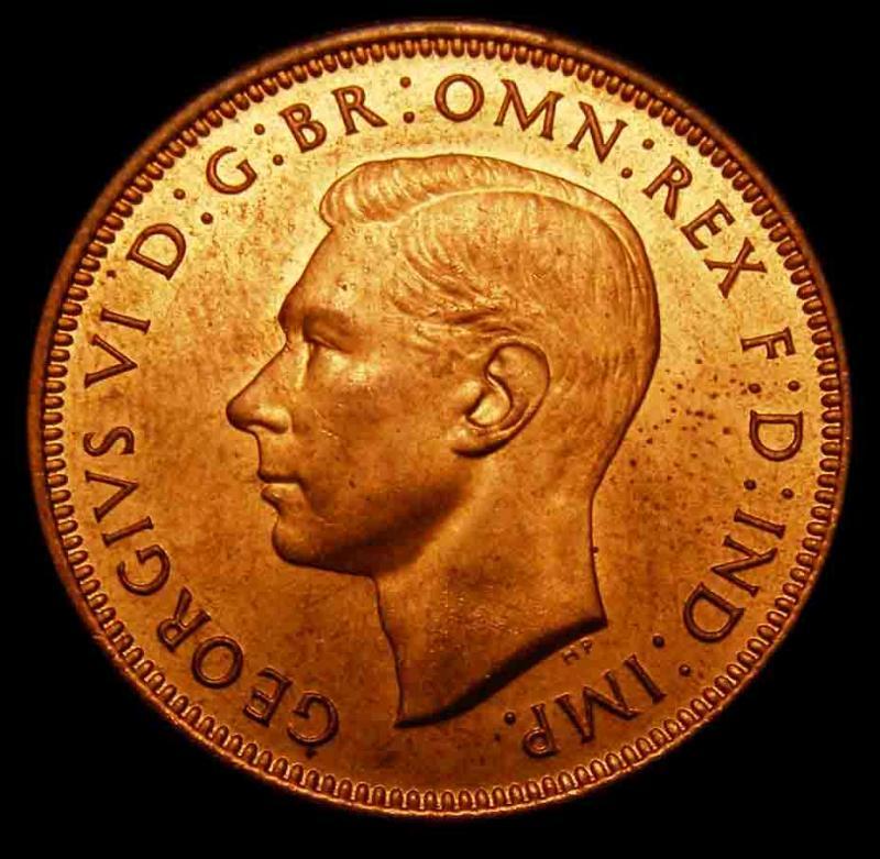 Halfpenny 1947 George VI. Dies 1+M - Obverse