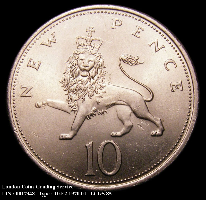Decimal 10p 1970 Elizabeth II. Dies 4B. P of PENCE points slightly left of a bead. - Reverse
