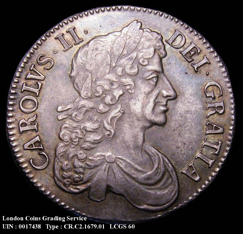 Crown 1679 Charles II. Third Bust. TRICESIMO PRIMO - Obverse