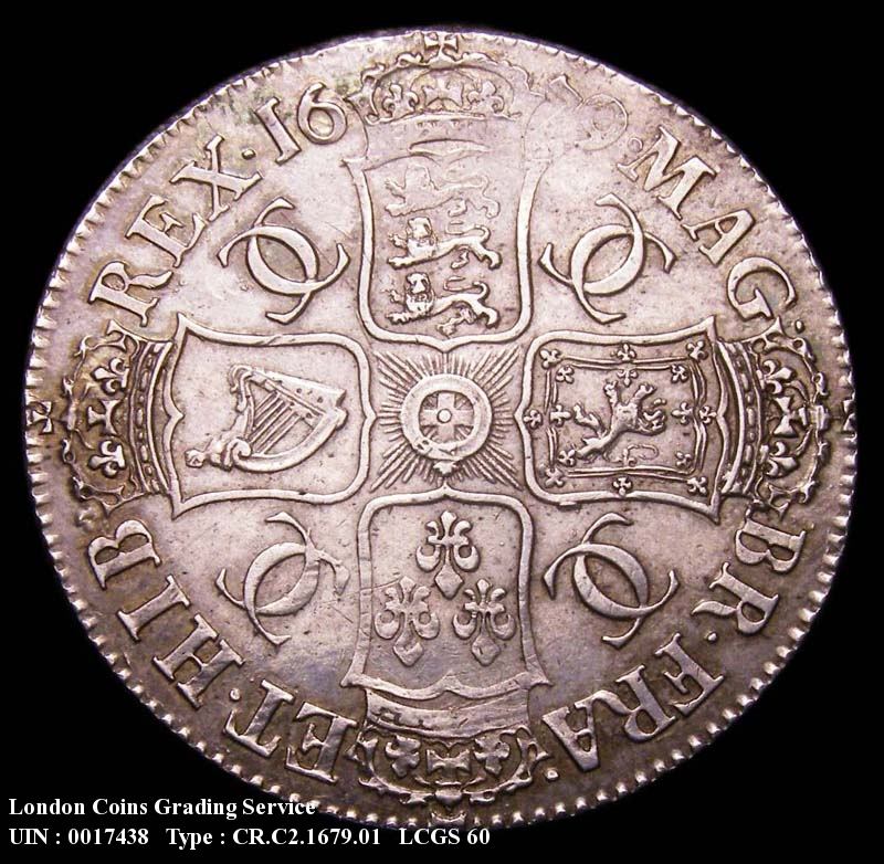 Crown 1679 Charles II. Third Bust. TRICESIMO PRIMO - Reverse