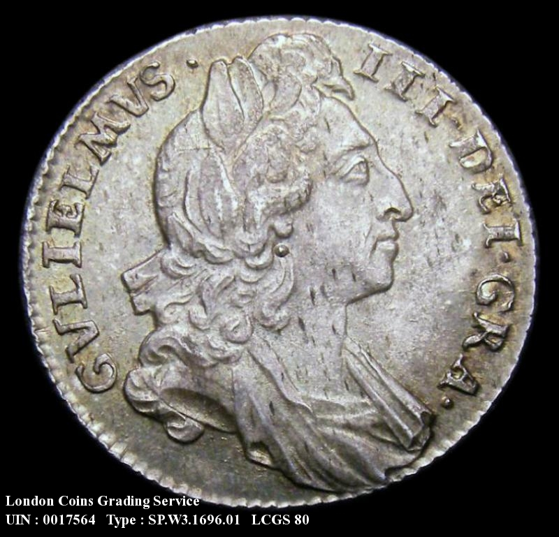 Sixpence 1696 William III. First Bust Early Harp Large Crowns - Obverse