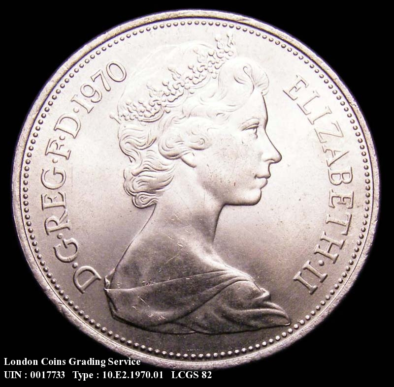 Decimal 10p 1970 Elizabeth II. Dies 4B. P of PENCE points slightly left of a bead. - Obverse