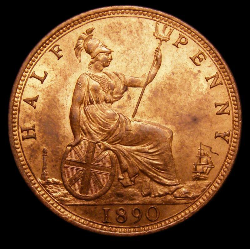 Halfpenny 1890 Victoria. Dies 17+S - Reverse