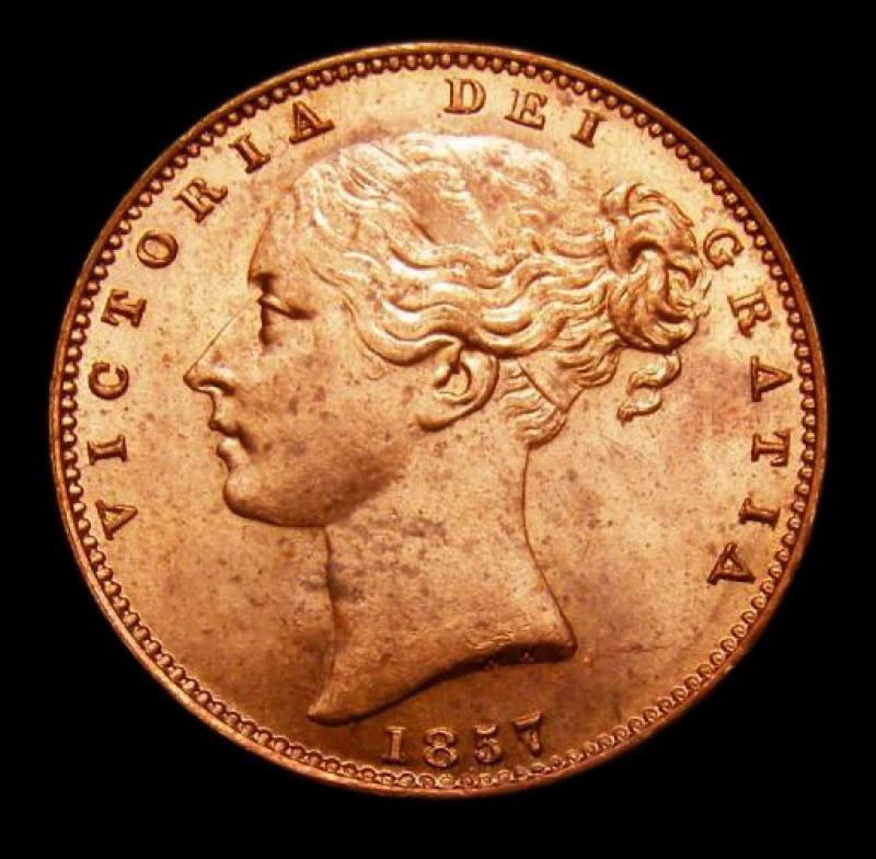 Farthing 1857 Victoria. Standard type - Obverse