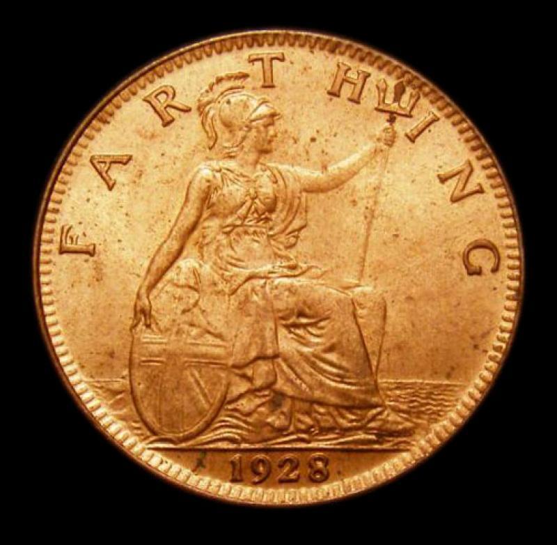 Farthing 1928 George V. Dies 3+B - Reverse