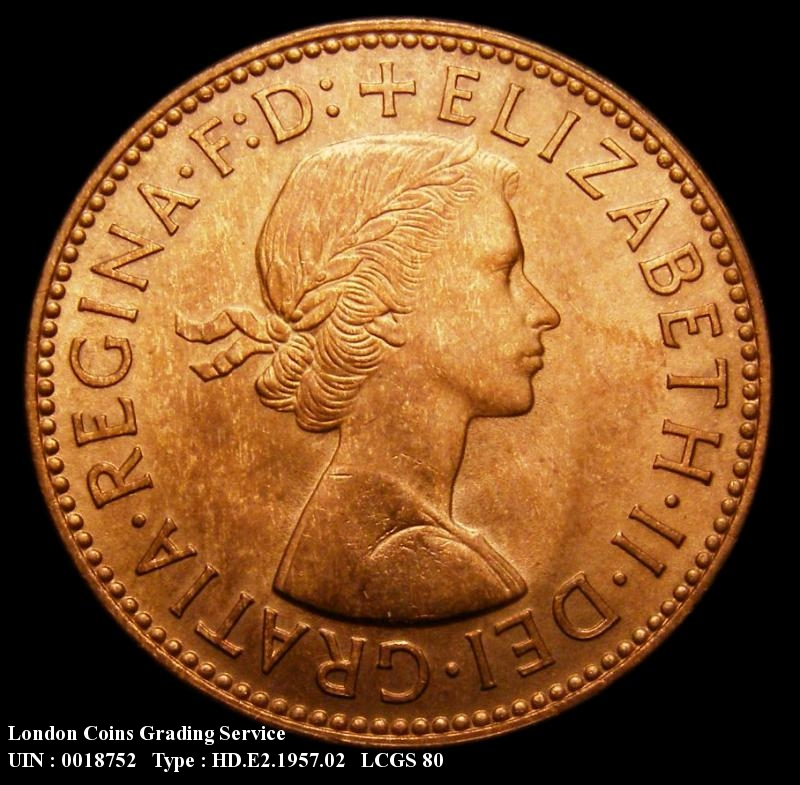 Halfpenny 1957 Elizabeth II. Dies 3+E - Obverse